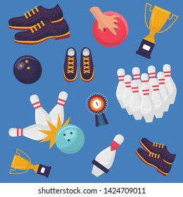Bowling game vector pattern on blue background. Flat design of sport shoes, ten skittles, striking ball, a hand holding a ball, winner medal and goblet.