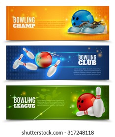 Bowling horizontal banners set with bowling champ club and leagues symbols realistic isolated vector illustration