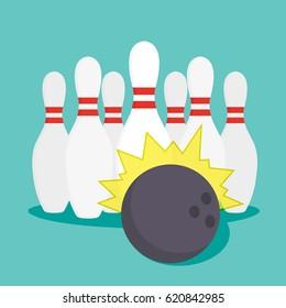 Bowling icon flat icon