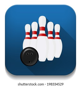 bowling icon With long shadow over app button