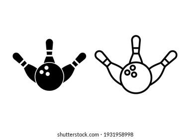 Bowling icon set. bowling ball and pin icon. bowling pins