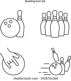 bowling icon set isolated on white background from mall collection. bowling icon thin line outline linear bowling symbol for logo, web, app, UI. bowling icon simple sign.