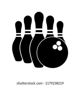 Bowling icon, silhouette, logo on white background