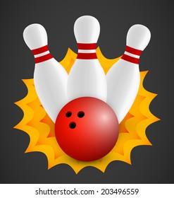 Bowling icon with three bowling pins and red ball