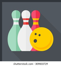 Bowling icon, vector illustration. Flat design style with long shadow,eps10