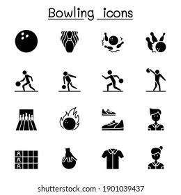Bowling icons set vector illustration graphic design