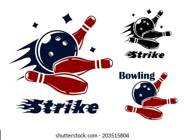 Bowling icons and symbols logo with the text - Strike - as the bowl hits the pins with speed and motion trails and one with the text - Bowling - and no motion trail