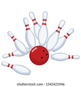 Bowling image on white background. Flat vector image of bowling pins and bowling ball on white background.
