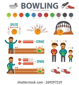 Bowling infographic elements isolated on white background. People play bowling and knock strike, split, spare, down skittles vector flat - stock vector