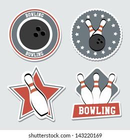 bowling labels over blue background vector illustration