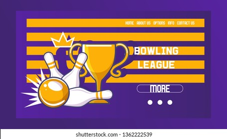 Bowling league banner, poster vector illustration. Ball crashing into the pins,getting strike. Bowling tournament. Winner of championship. Victory. First place. Web design.