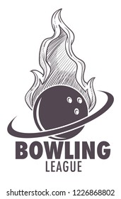 Bowling league poster with ball and skittle monochrome sketch outline vector. Sport and hobby of people, recreation with active fun game, competition playing. Motion tournament logotype emblem