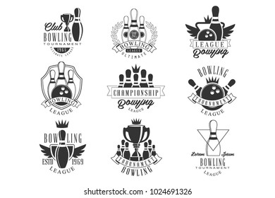 Bowling League Tournament Black And White Sign Design Templates With Text And Tools Silhouettes