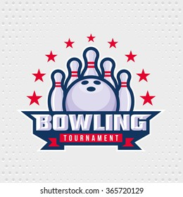 Bowling logo design template, emblem tournament template editable for your design.