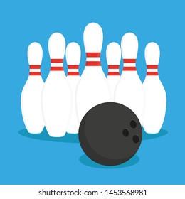 Bowling logo, icons and symbol. Bowling ball, illustration. Vector icon