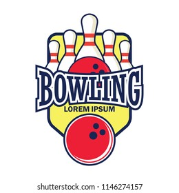 bowling logo with text space for your slogan / tag line, vector illustration