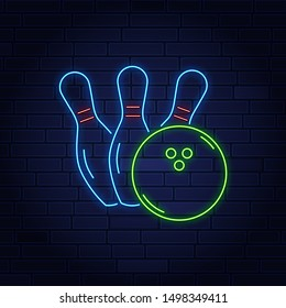 Bowling logo vector. Neon sign, symbol, bright banner advertising bright night bowling, luminous neon billboard. Design a template for the Bowling Club logo. Vector illustration