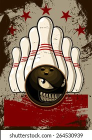 Bowling Mascot Poster Vector Illustration