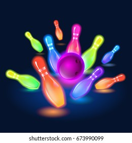 Bowling neon glowing pins. Vector clip art illustration.