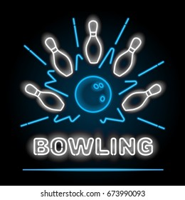 Bowling neon sigh. Vector clip art illustration.