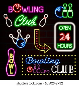 Bowling neon sign set. Bowling club logo, emblem. Vector illustration EPS10