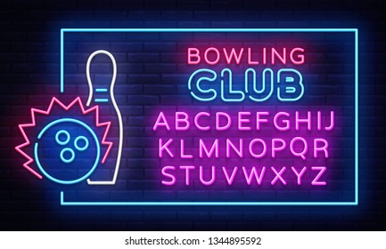 Bowling neon sign vector. Neon Frame Bowling Club Design template, light banner, night signboard, nightly bright advertising, light inscription. Vector illustration. Editing text neon sign