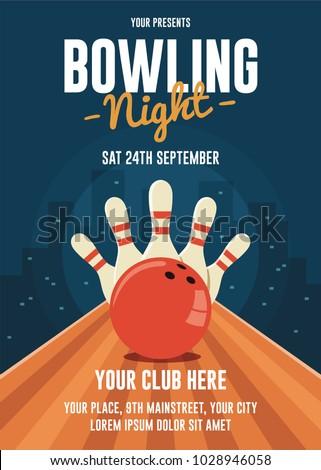 Bowling Flyer Template | Bowling Night Flyer Template Stock Vektorgrafik Lizenzfrei