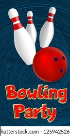 Bowling party banner. Realistic illustration of bowling party vector banner for web design