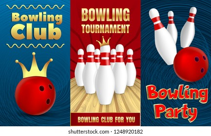 Bowling party banner set. Realistic illustration of bowling party vector banner set for web design