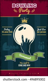Bowling party vintage style poster with hand and ball green ribbon on worn dark background vector illustration