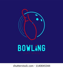 Bowling with pin logo icon outline stroke set dash line design illustration isolated on dark blue background with bowling text and copy space