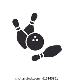 Bowling pins with ball icon. Bowling game. Bowling ball and pin icon. Simple icon skittles with ball. Logo template. Bowling club, tournaments. Sport icon.