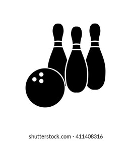 Bowling pins with ball icon. Silhouette bowling game symbol. Vector illustration