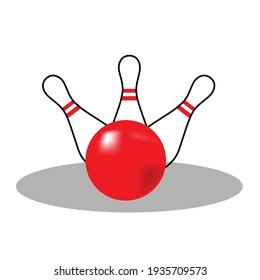 Bowling pins and ball. Simple colorful icon bowling skittles with ball. Isolated on a white background. Vector illustration.