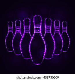 Bowling Pins Illustration Icon, Violet Color Lights Silhouette on Dark Background. Glowing Lines and Points
