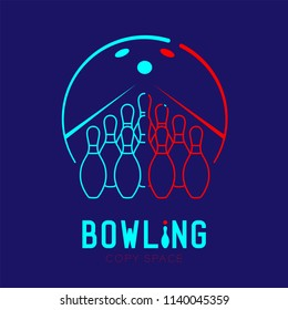 Bowling with pins logo icon outline stroke set dash line design illustration isolated on dark blue background with bowling text and copy space