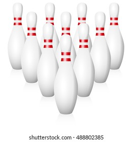 Bowling pins - starting position - isolated vector illustration on white background.