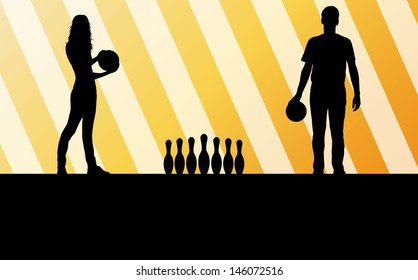Bowling player silhouettes vector abstract background