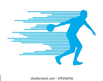 Bowling player silhouettes vector background concept made of stripes