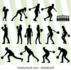 Bowling player silhouettes vector set background