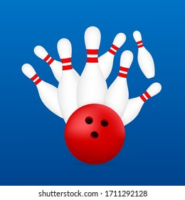 Bowling poster. Bowling game leisure concept. Vector stock illustration