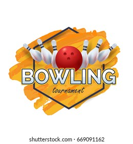 Bowling Poster with Orange Watercolors Vector Background. Bowl Event Info Postcard Design Sports Ad Web Banner or Card Template. Realistic Ball and Tenpins Illustration