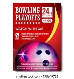 Bowling Poster Vector. Bowling Ball. Vertical Design For Sport Bar Promotion. Tournament, Championship Flyer Design. Bowling Club Flyer. Invitation Label Illustration