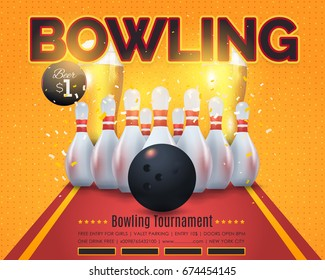 Bowling Poster Vector Colorful Background. Bowl Event Info Postcard Design and Sports Ad Web Banner or Horizontal Card Template. Realistic Ball and Tenpins Illustration
