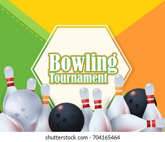 Bowling Poster Vector Colorful Material Design Background. Bowl Event Info Postcard and Sports Ad Web Banner or Horizontal Card Template. Realistic Ball and Tenpins Illustration