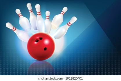 Bowling realistic composition with abstract background and images of red ball strike with bunch of pins vector illustration