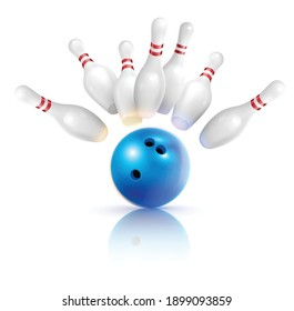 Bowling realistic composition with images of strike ball and flying pins with shadows on blank background vector illustration