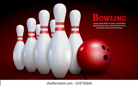 Bowling realistic illustration background. Bowling game leisure concept