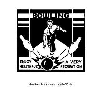 Bowling - Retro Ad Art Banner