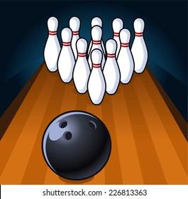 Bowling scene illustration